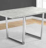 """Monarch Dining Table 36"""" x 60"""" Grey Cement Look and Chrome Metal"""