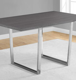 """Monarch Dining Table 36"""" x 60"""" Grey and Chrome Metal"""