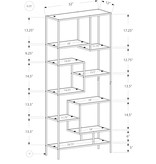"Monarch Bookcase 72""H Silver Metal with Tempered Glass"