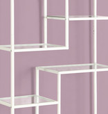 """Monarch Bookcase 72""""H White Metal with Tempered Glass"""