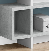 """Monarch Bookcase 55""""H White With Cement Look Modern Style"""