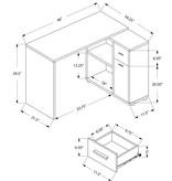 "Monarch Computer Desk - 46""L / Grey With A Storage Cabinet"