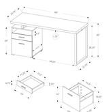 """Monarch Computer Desk 60""""L , White and Silver Metal"""