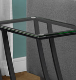 Monarch Accent table, black metal and tempered glass