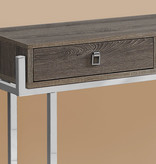 """Monarch Accent table, 48 """"w, taupe and dark chrome metal"""