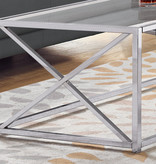 """Monarch Coffee table, 44 """"w, chrome metal and tempered glass"""