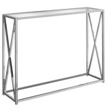"Monarch Accent table, 42 ""w, chromium metal and tempered glass"