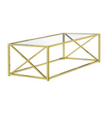 """Monarch Coffee table, 44 """"w, gold metal and tempered glass"""