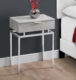 """Monarch Accent table, 24 """"h, gray cement and chrome metal"""