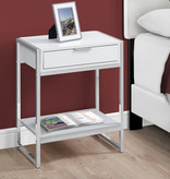 "Monarch Accent table, 24 ""h, white gloss and chrome metal"