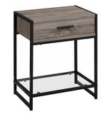 """Monarch Accent table, 22 """"h, dark taupe, black and tempered glass"""