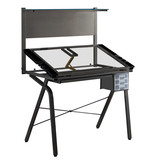 Monarch Drawing table, black metal and tempered glass