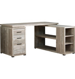 Monarch Corner desk, reversible, taupe wood grain