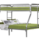 Monarch Bunk Bed - Twin / Full Size / Silver Metal