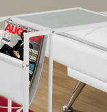 Monarch Accent Table - White / White Metal With A Magazine Rack