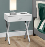 """Monarch Accent Table - 24""""H / Glossy White / Chrome Metal"""