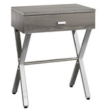 """Monarch Accent Table - 24""""H / Dark Taupe / Chrome Metal"""