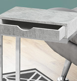 Monarch Accent Table - Chrome Metal / Grey Cement With A Drawer