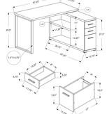 Monarch Computer Desk - Grey Left Or Right Facing Corner