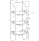 "Monarch Bookcase - 48""H / Dark Taupe / Black Metal"