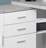 "Monarch Computer Desk - 60""L White / Cement-Look Left/Right Face"