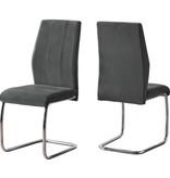 Monarch Lilly Chair, Dark Grey Velvet and Chrome
