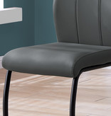 Monarch Lilly Chair, Grey Leather-Look and Metal