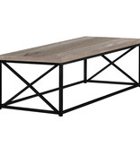 Monarch Coffee table, Taupe reclaimed wood-look and black metal