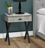 Monarch Accent Table with storage, Grey reclaimed wood-look / black metal