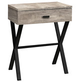 Monarch Accent Table with storage, Taupe reclaimed wood-look / black metal