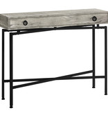 Monarch Console Table with storage, Grey reclaimed wood-look / black metal