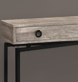 Monarch Console Table with storage, Taupe reclaimed wood-look / black metal