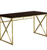 "Monarch Computer desk 48"", Cappuccino and gold metal"