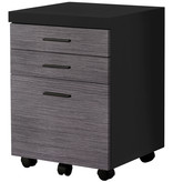 Monarch Filing cabinet, 3 drawers, Black and grey on castors