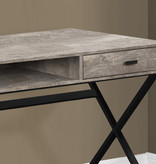 """Monarch Computer desk 48"""", Taupe reclaimed wood and black metal"""