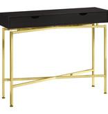"Monarch Console Table 42""L, Cappuccino and Gold"