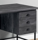 "Monarch Computer Desk (55""), Black Reclaimed Wood and Black Metal"
