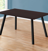 "Monarch Dining Table (36"" x 60""), Cappuccino and Black Metal"