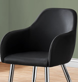 Monarch Dining Chair, Black Leather-Look, Chrome