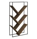 Monarch Bookcase, Brown Reclaimed Wood-Look, Black Metal