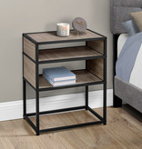 Monarch Accent Table, Dark Taupe, Black Metal