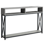 Monarch Accent Table, Grey, Black Metal Hall Console