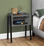 Monarch Accent Table, Grey Stone-Look, Black Metal