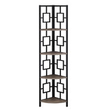 "Monarch Bookcase (62""H), Dark Taupe, Black Metal Corner Etagere"