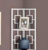 """Monarch Bookcase (62""""H), White, White Metal Corner Etagere"""