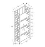 "Monarch Bookcase (62""H), Dark Taupe, Black Metal Etagere"