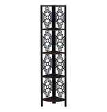"Monarch Bookcase (62""H), Espresso, Black Metal Corner Etagere"