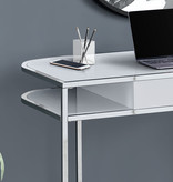 "Monarch Computer Desk (48""), Glossy White, Chrome Metal"
