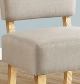 Monarch Accent Chair, Taupe Fabric, Natural Wood Legs