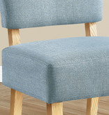 Monarch Accent Chair, Light Blue Fabric, Natural Wood Legs